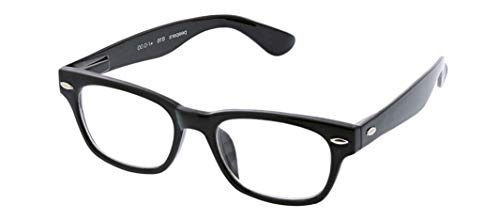 Peepers by PeeperSpecs Clark Square Reading Glasses, Black-Blue Light Filtering Lenses, 1.25