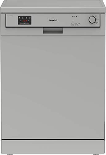 Sharp QW-HX12F47ES-DE Freistehender Geschirrspüler / 60 cm / E / 13 Maßgedecke / 3 Programme mit 50 min. Kurzprogramm / Silber