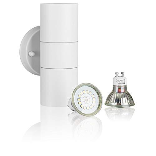 SEBSON Aussenleuchte, Wandleuchte Edelstahl weiß, up down, inkl. 2x GU10 LED Lampe 3,5W kaltweiß