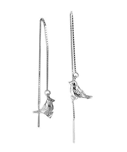 Lazy Cat oorbellen vogel massief echt 925 sterling zilver doortrekker oorbellen