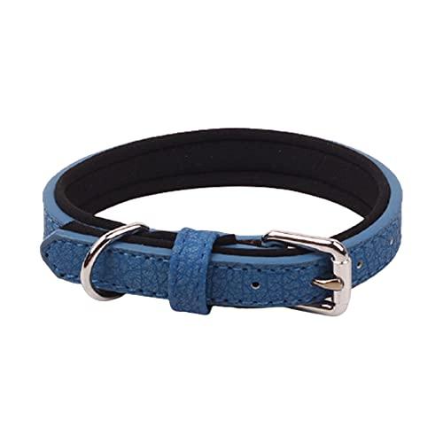ZZCR Collares para Perros Collares para Perros Pequeños Y Medianos Collares con Hebilla Collares De Tela De PU para Nadar Salir A Pasear Al Perro Collares Ajustables Azul S