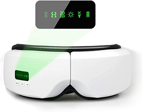 Eye Temple Massager with Heat,Vibration, Air Pressure for Relieve Eye Headaches Bluetooth Music Wireless shiatsu Electric Eye Care Massage for Improving Blood Circulation Eye Bag Dark Circles(White)