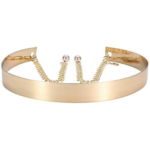 ArtiDeco Gürtel Damen Breit Dekorativ Metall Taillengürtel Kette Stil Taille Strap Stretchy Gürtel für Kleider (Gold Breit)