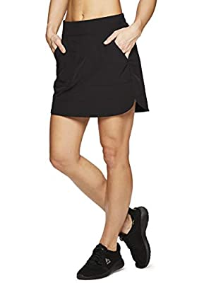 RBX Active Women's Fashion Stretch Woven Flat Front Golf/Tennis Athletic Skort with Attached Bike Shorts and Pockets New Spring Black L