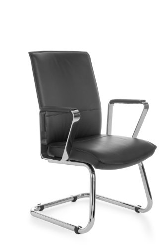 AMSTYLE Freischwinger VERONA Besucherstuhl Bezug Echt-Leder Schwarz Schwingstuhl Visitor X-XL Chrom 120 kg Meetingstuhl ergonomisch Design...