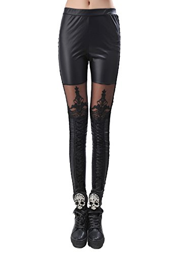 Yobom Gothics Black Steampunk Punk Damen PU Skinny Push Up Leggings Hüfthose Schwarz