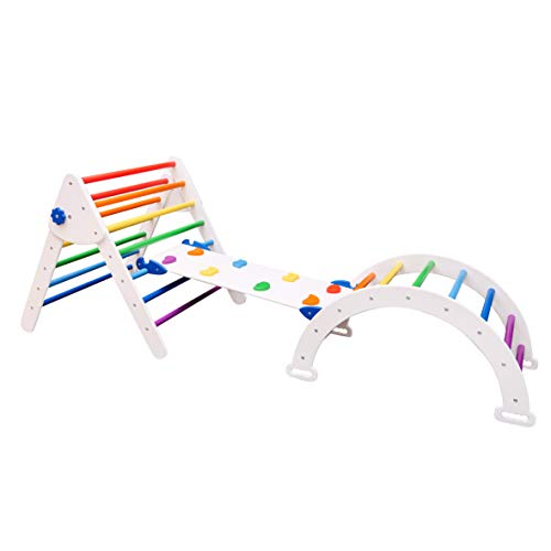 Set of 3 Pikler Triangle for Kids Toddlers Rock with ramp - Montessori Climber Ladder Slide - Learning Waldorf Climbing Arch Toy for Toddler White+Rainbow (Standard Size)