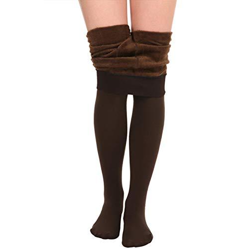 Leggings Plus Cashmere Warme Leggings Frauen Hohe Taille Dicke Leggings Plus Samt Hochelastische Femme Stretch Leggings Weiblich L Kaffee