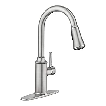 Moen 87801SRS Conneaut One-Handle Pulldown Kitchen Faucet with Reflex and Power Clean Spot Resist Stainless