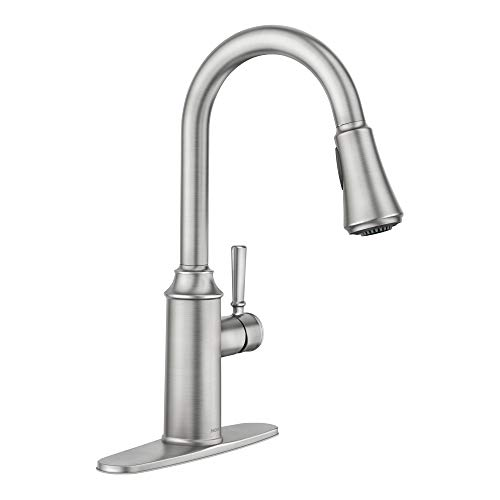 Moen 87801SRS Conneaut One-Handle Pulldown Kitchen Faucet with Reflex and Power Clean, Spot Resist Stainless