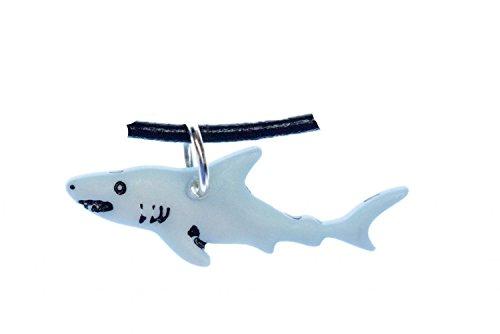 Miniblings Hai Kette Halskette 45cm Leder Fisch blau Haifisch Haie Lederkette - Handmade Modeschmuck - Lederkette herrenkette