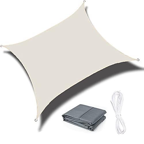 QINZC Toldo Vela De Sombra para Exterior ProteccióN Rayos UV Cuadrado 4x4m Transpirable Impermeable Prueba De Viento para Patio, Exteriores, JardíN,Beige