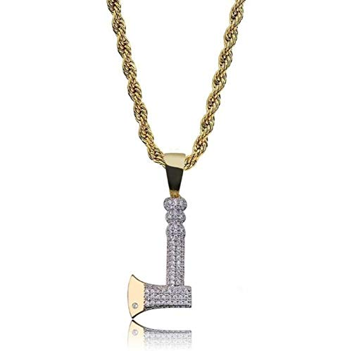 Minekkyes Collar y Colgante de Hacha Cadena de Cuerda de Acero Color Dorado Bling Circón cúbico Joyería de Hip Hop para Hombres 60Cm