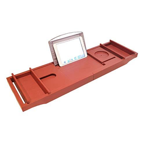 QCKDQ Badewanne Tablett, Ausziehbare Badewanne Tray Rack-Badewanne Caddy Organizer Mit Tablet-Halter, Handy-Fach Weinglashalter