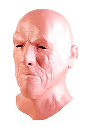 Old Man Mask - Realistic Halloween Latex Human Wrinkle Face Mask Novelty Costume Party Latex Full Head Mask Zombie Cosplay Props Red