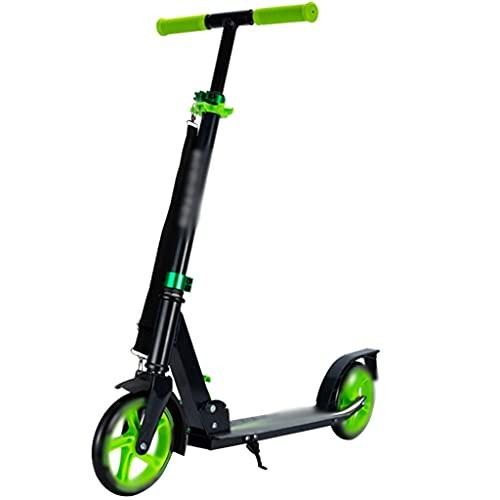 Patinete Stunt Scooter Robustos Patinete Portátil para Adultos, Scooter De Altura Regulable, Park Fitness Trick Scooters (Color : Green, Size : 91 * 38 * 78-100cm)