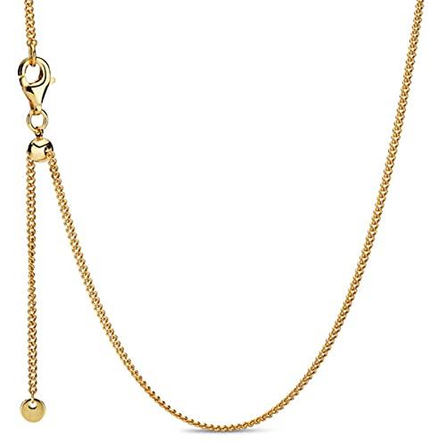 zonger Collar básico de Ajuste de Cadena de Cierre Deslizante de Oro Rosa Original para Pulsera de Abalorios de Plata de Ley 925 joyería de Pandora