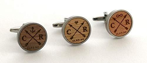 Manschettenknöpfe mit Gravur aus Holz personalisiert mit Initialien und Datum, Geschenk für Bräutigam, Schwarz mit Holz Nussbaum, Kirschbaum, Eiche