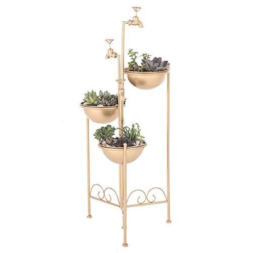 MKKM Soporte de la Planta Planta de la Flor de Oro Del Estilo Del Grifo Hierro Soporte de Exhibición Del Estilo Retro, Estilo Industrial Simple Y Elegante Diseño para Su Cubierta Exterior de la Sala