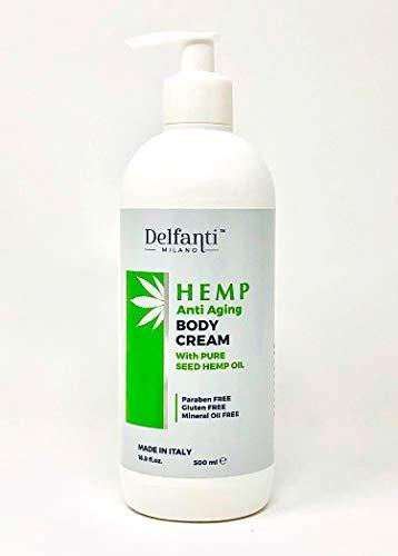 Delfanti Milano • HEMP Anti Aging Body Cream with pure hemp seed oil • Made in Italy • Supersize Value 16.9 OZ