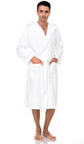 TowelSelections Men's Hooded Robe, Cotton Terry Cloth Bathrobe X-Large White