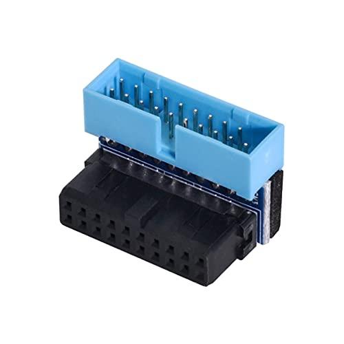 Cablecc Adaptador de extensión USB 3.0 de 20 pines macho a hembra en ángulo de 90 grados para placa base de cable