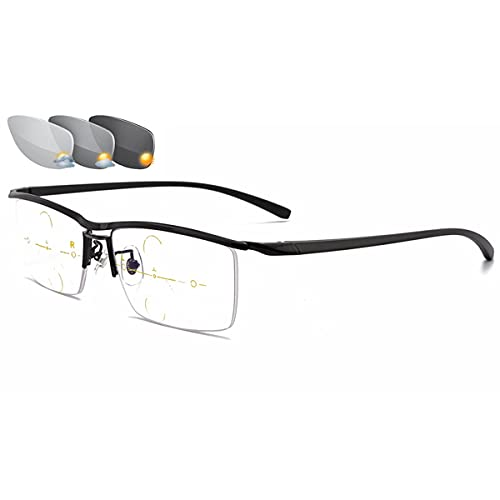 LGQ Gafas de Lectura para Hombres, lectores solares fotocromáticos multifoco progresivos, Gafas de Ordenador con Bloqueo de luz Azul, dioptrías de +1,00 a +3,00,Negro,+1.50