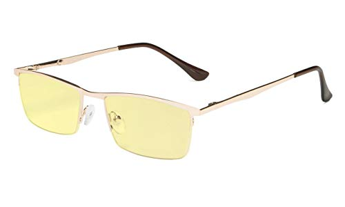Eyekepper Kwaliteit Spring scharnieren halve rand oranje getinte lenzen computer leesbril +1.25 Gouden frame-bb60 lens