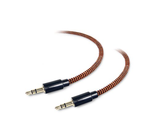 Tough Tested TT-FC6-AUX 6-Feet Durable Braided Auxiliary Cable (3.5mm Audio-to-3.5mm Audio) - Retail Packaging - Black/Orange