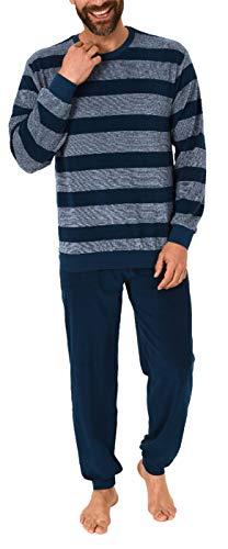 Herren Frottee Pyjama Schlafanzug mit Bündchen Blockstreifenoptik - auch in Übergrössen, Größe2:56, Farbe:blau