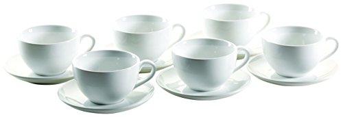 Mäser, Serie Colombia, Michkaffee-Obere 34 cl, mit Milchkaffee-Untere 16 cm, Porzellan Geschirr-Set für 6 Personen