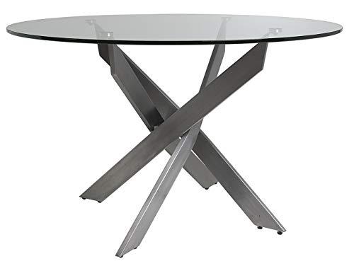 ambiato Esstisch Michelle Rund 120cm Klarglas Tischplatte + Edelstahl Gestell