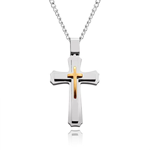 blackbox Jewelry Cross Necklace for Men & Women with Large Pendant and 24 Inch Chain (Silver and Gold Tone)