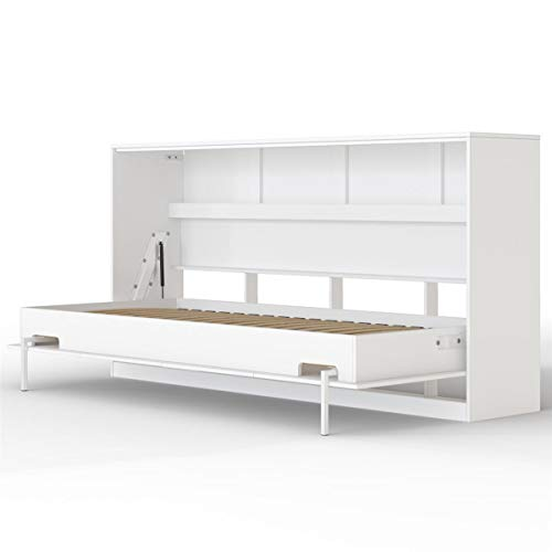 SMARTBett Basic Cama abatible Cama Plegable Cama de Pared (Blanco, 90 x 200 cm Horizontal)