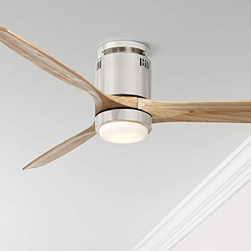 "52"" Windspun Modern Hugger Ceiling Fan with Light LED Remote Control Brushed Nickel Natural Solid Wood Carved Blades for Living Room Kitchen Bedroom Family Dining - Casa Vieja"