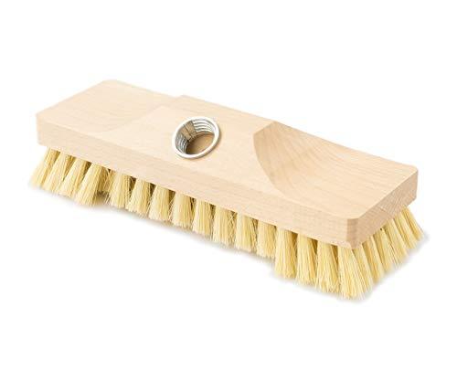 Schrubber – Schrupper aus Holz mit Naturborsten – Ideal für die Reinigung von / Boden / Bodenbürste, Fliesen, Balkon, Terrasse, Garten, Außen, Innen, Aussenbereich / Aussen