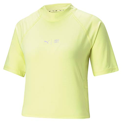 PUMA Train First Mile Mock Neck tee Camiseta, Mujer, Soft Fluo Yellow, L