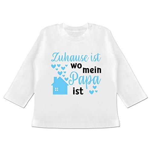 Vatertagsgeschenk Tochter & Sohn Baby - Zuhause ist wo Mein Papa ist blau/schwarz - 3/6 Monate - Weiß - Statement - BZ11 - Baby T-Shirt Langarm