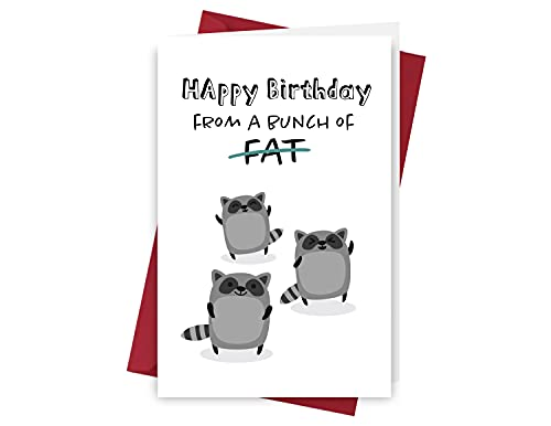 Funny Racoon Birthday Card – Racoon Anniversary Card – Racoon Happy Birthday Card – Racoon Birthday Card – with Envelope (Bunch of Fat)