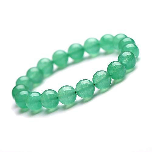 HSUMING 10mm Natural Stone Green Aventurine Jade Bead Stretch Bracelet for Women Girls Men - Yoga Chakra Bracelet Bangle B002