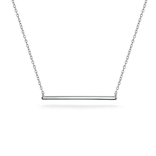 Bling Jewelry Thin Minimalist Sideways Horizontal Round Station Bar Pendant Necklace for Women for Teen 925 Sterling Silver 16 Inch
