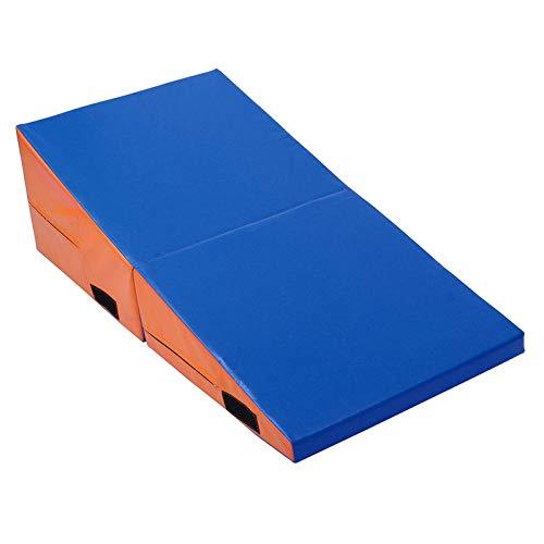 Yhjkvl Colchonetas de gimnasia, plegable, para yoga, ejercicio, gimnasio, pilates, gimnasio, ejercicio, entrenamiento (tamaño: S; color: azul naranja)