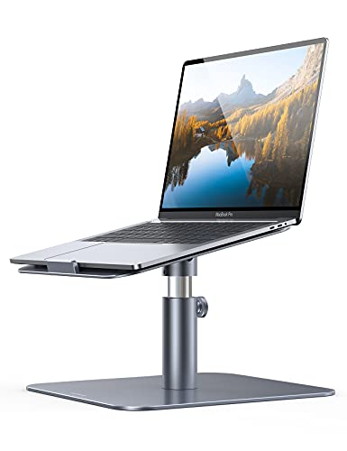 Laptop Stand Adjustable, Lamicall Notebook Holder : Multi-Angle Height Ventilated Laptop Riser for Desk, 360 Rotating, Compatible with MacBook Air Pro, Dell XPS, HP More Notebooks - Gray