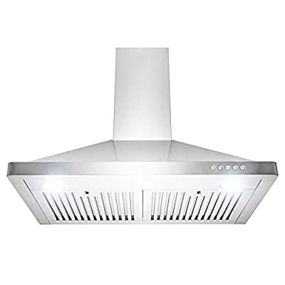 Golden Vantage Wall Mount Range Hood - Stainless-Steel Hood Fan for Kitchen - 3-Speed Professional Quiet Motor - Premium Push Control Panel - Modern Design - Baffle Filter & LED Lamp