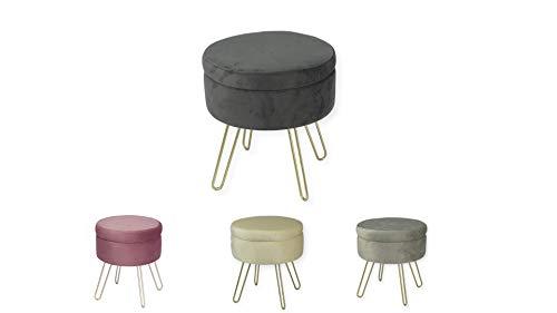 Avior Home Sitzhocker Schminkhocker gepolsterter Hocker Aufbewahrungsbox Abnehmbarer Bezug Metallstütze (Dunkelgrau)