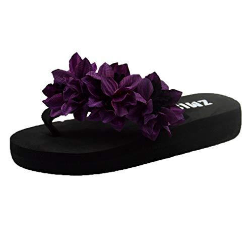 Xmiral Slippers Sandals Women Muffin Wedge Home Bathroom Beach Flip Flops Shoes Sole Eva Heel High 3 cm(4 UK,Purple)