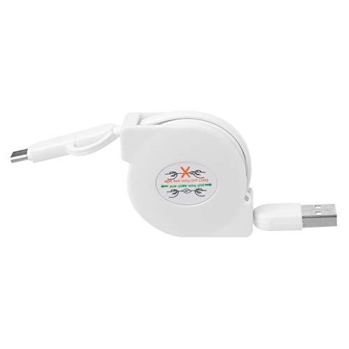 MEIYIN Cabo plano retrátil 2 em 1 micro USB + tipo C para carregamento de dados