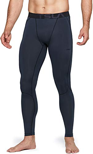 TSLA Men's UPF 50+ Compression Pants, UV/SPF Running Tights, Workout Leggings, Cool Dry Yoga Gym Clothes, Active(mup39) - Charcoal, Medium