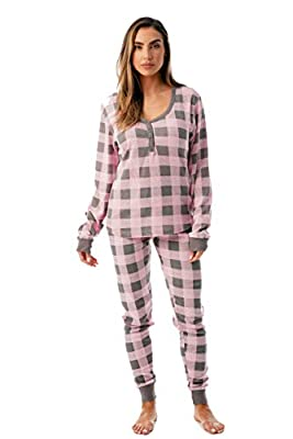 #followme Buffalo Plaid 2 Piece Base Layer Thermal Underwear Set for Women 6372-10195-NEW-PNK-XL