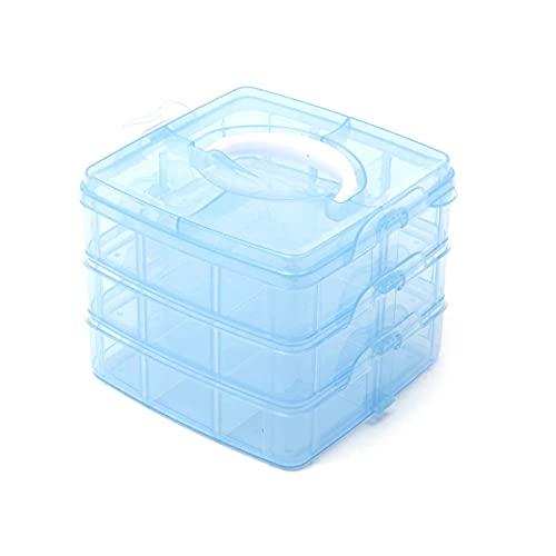 Caja Compartimiento Transparente Ajustables Caja Almacenamiento Plástico 3 Niveles Caja Almacenamiento Plástico Con Asa Caja Clasificación Transparente Para Artes Manualidades Abalorios Joyas